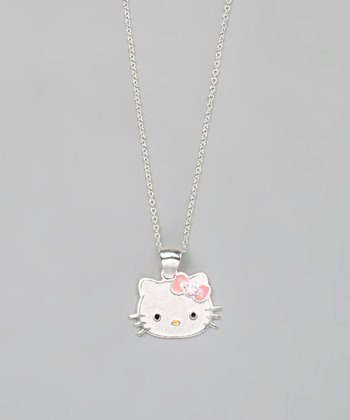 Crystal & Sterling Silver Hello Kitty Necklace