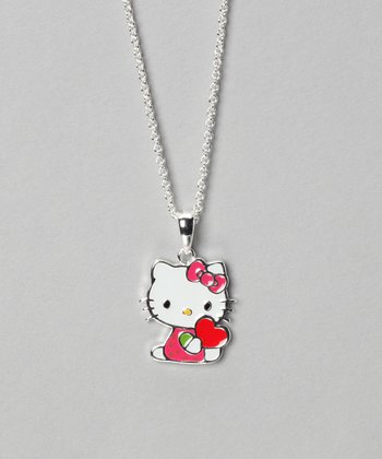 Pink Hello Kitty Heart Silver Pendant Necklace