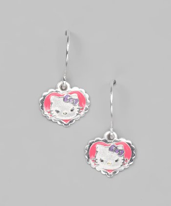 Pink & Sterling Silver Hello Kitty Heart Earrings