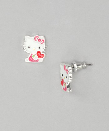 Red & Pink Hello Kitty Heart Silver Earrings