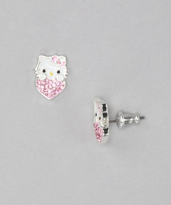Pink Hello Kitty Heart Crystal Silver Stud Earrings