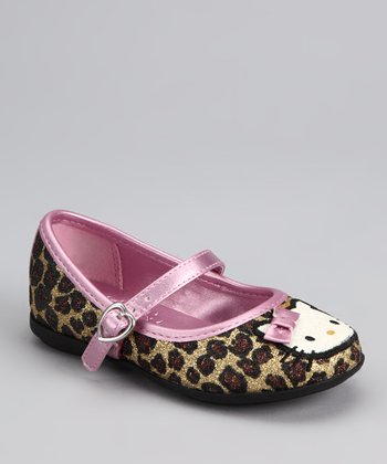 Brown & Pink Leopard Hello Kitty Lola Mary Jane