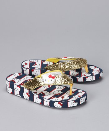 Navy & Gold Glitter Hello Kitty Flip-Flop