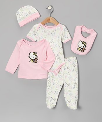 Light Pink Hello Kitty Organic Bear Bodysuit Set - Infant