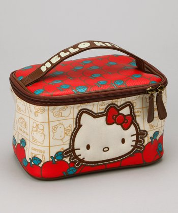 Red & Tan Hello Kitty Apples Toiletry Bag