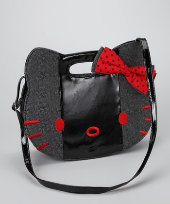 Gray & Red Hello Kitty Herringbone Bag
