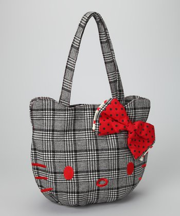 Black & White Plaid Hello Kitty Bag
