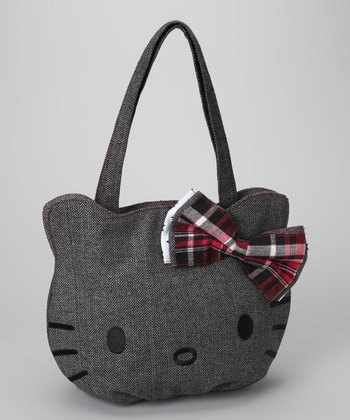 Gray Hello Kitty Herringbone Bag
