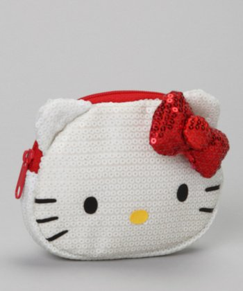 White Sequin Coin Purse