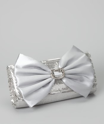 Silver Sequin Hello Kitty Bow Clutch