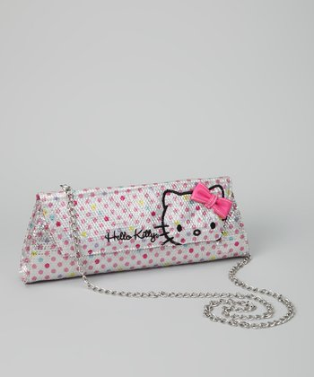 White Polka Dot Sequin Hello Kitty Shoulder Bag