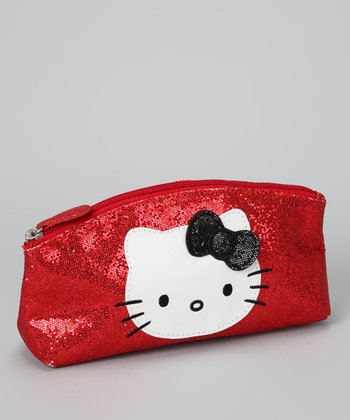 Hello Kitty Red Glitter Cosmetic Bag
