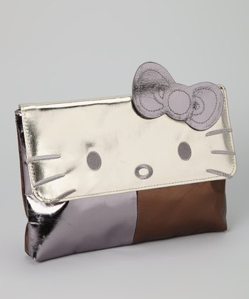 Gold Metallic Hello Kitty Color Block Clutch