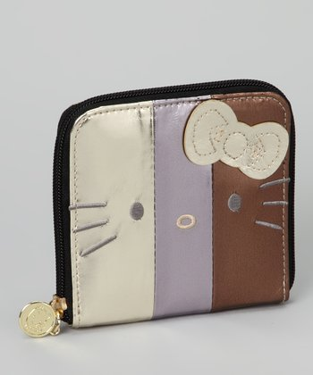 Gold Metallic Hello Kitty Color Block Wallet