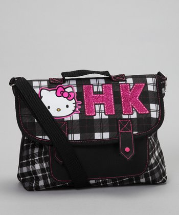Black & White Plaid Messenger Bag