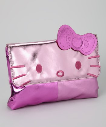 Pink Metallic Hello Kitty Color Block Clutch