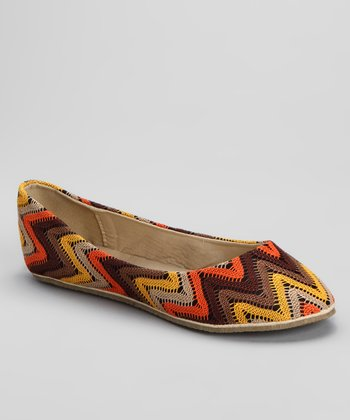Brown Zigzag Ballet Flat