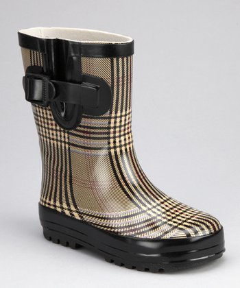 Black Plaid Rain Boot - Kids