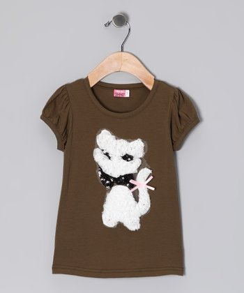 Olive Sparkle Kitty Top - Toddler & Girls