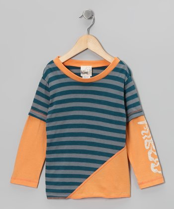 Blue & Orange Stripe Layered Tee - Toddler & Kids