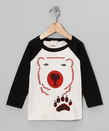 Cream & Black Bear Raglan Tee - Toddler & Kids