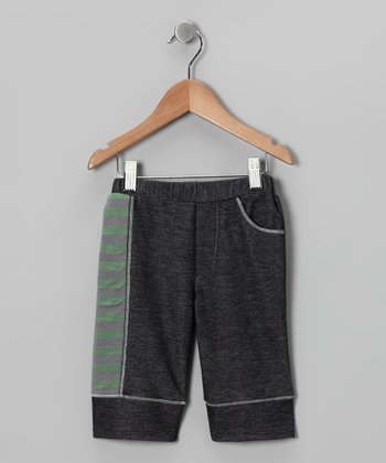 Charcoal Denim & Green Stripe Short - Kids