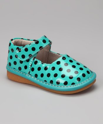 Teal & Black Polka Dots Squeaker Mary Jane