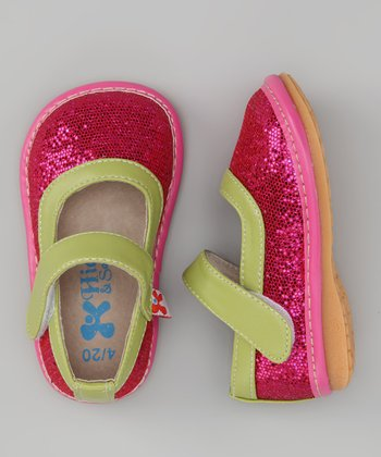 Hot Pink & Green Diva Sparkle Squeaker Mary Jane
