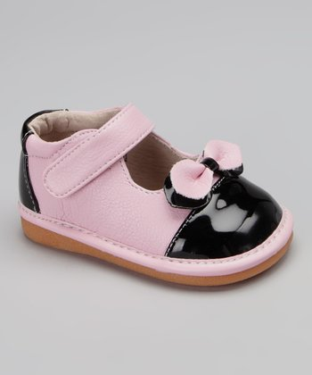 Light Pink & Black Retro Bow Squeaker Mary Jane
