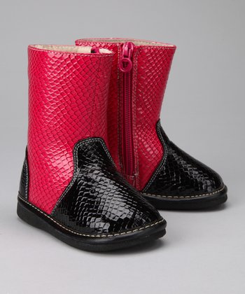 Black & Hot Pink Snake Squeaker Boot