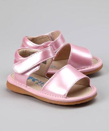 Metallic Pink Simple Squeaker Sandal
