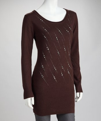 Brown Stud Streak Long-Sleeve Tunic