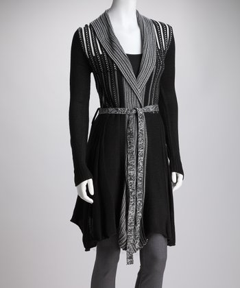 Black Knit Pleat Tie-Waist Cardigan