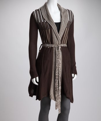 Brown Knit Pleat Tie-Waist Cardigan