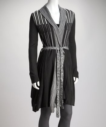Deep Gray Knit Pleat Tie-Waist Cardigan