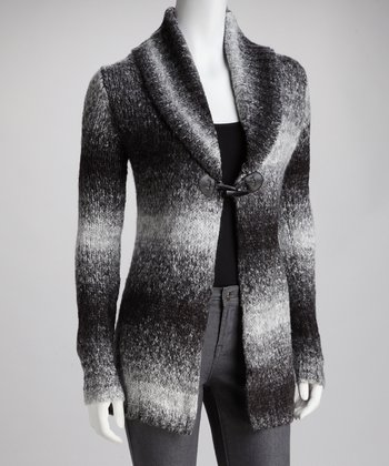 Black & White Single Button Wool-Blend Cardigan
