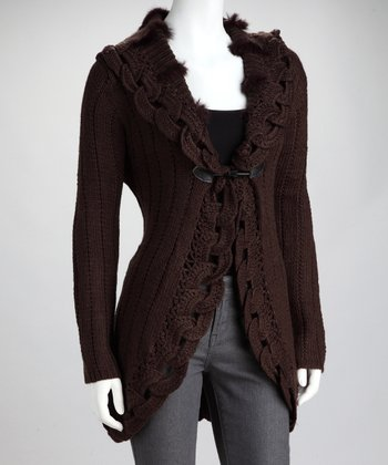 Brown Braid-Knit Single Button Cardigan