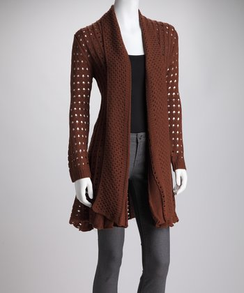 Brown Sheer-Knit Drape Neck Open Cardigan