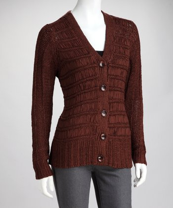 Brown Stripe Knit Cardigan