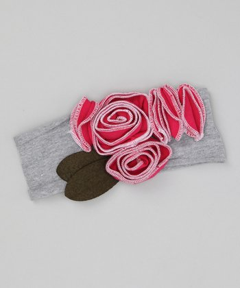 Gray & Red Rosette Bouquet Headband