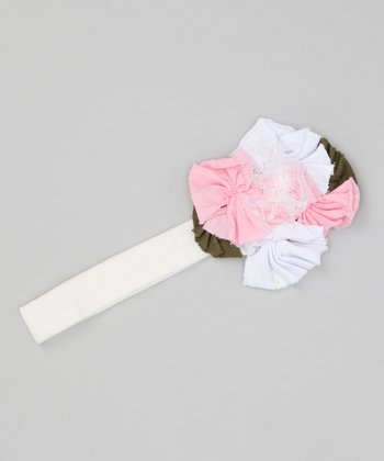 White & Pink Layered Flower Headband