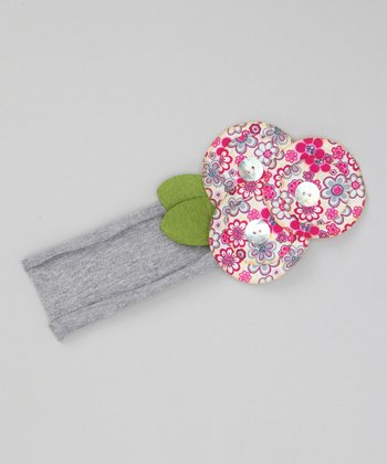 Gray & Pink Button Flower Headband