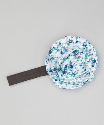 White & Blue Floral Rosette Headband