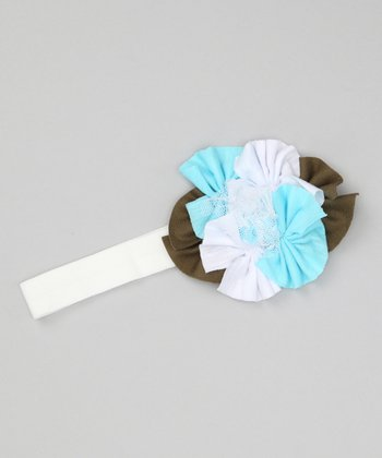 White & Blue Layered Flower Headband
