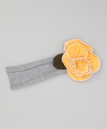Gray & Gold Rose Headband