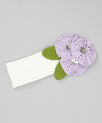 White & Lilac Button Flower Headband