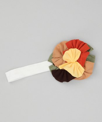 White & Brown Layered Flower Headband