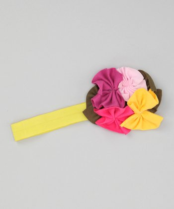Yellow & Pink Flower Headband