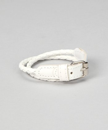 White Braided Leather Bracelet