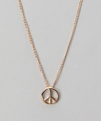 Gold Peace Sign Pendant Necklace